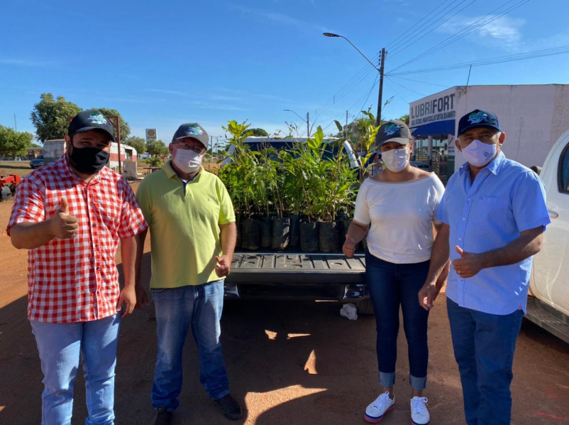 Dia Mundial do Meio Ambiente, a Prefeita Jakeline Pereira, o Vice Dr. Jaime Soares, esteve com o Deputado  Cleiton Cardoso distribuindo mudas de plantas aos munícipes!!