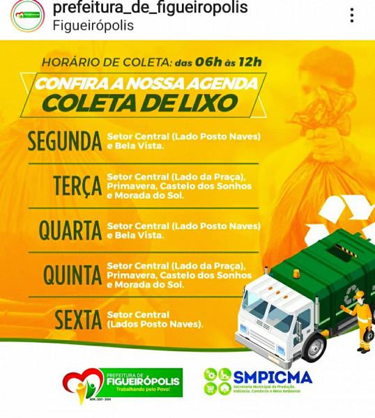 A Secretaria Municipal de Produção,Indústria,Comércio e Meio Ambiente-SMPICMA, organizando a data e regiões de coletas diárias do lixo urbano.do Município de Figueirópolis-TO. Gestão 2021-2024.