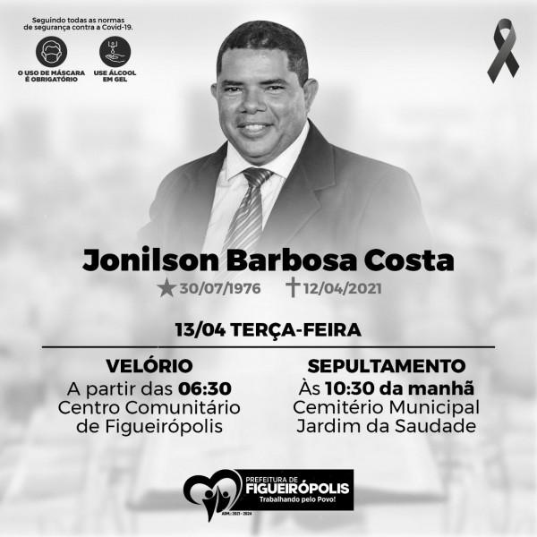 Nota de pesar: Falecimento do Secretário de Finanças da prefeitura de Figueirópolis-TO-.Jonilson Barbosa Costa.