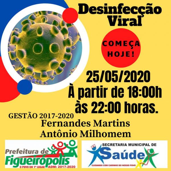 A Secretaria  Municipal de Saúde - Desinfecção Viral - Dia 25/05/2020.