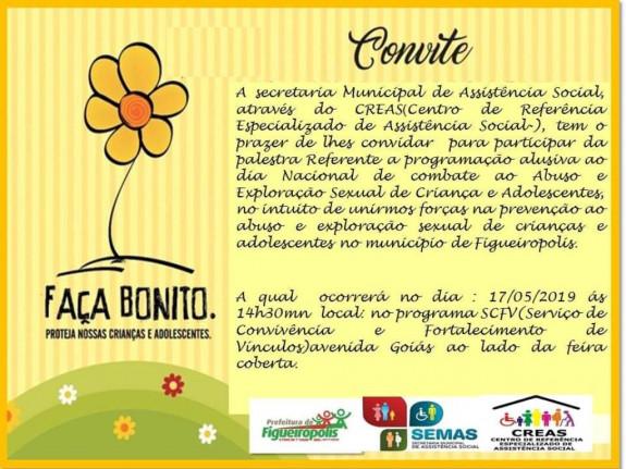 17 de Maio, dia Nacional contra Abuso e Exploração Sexual de Crianças e Adolescentes.SEMAS/CREAS.