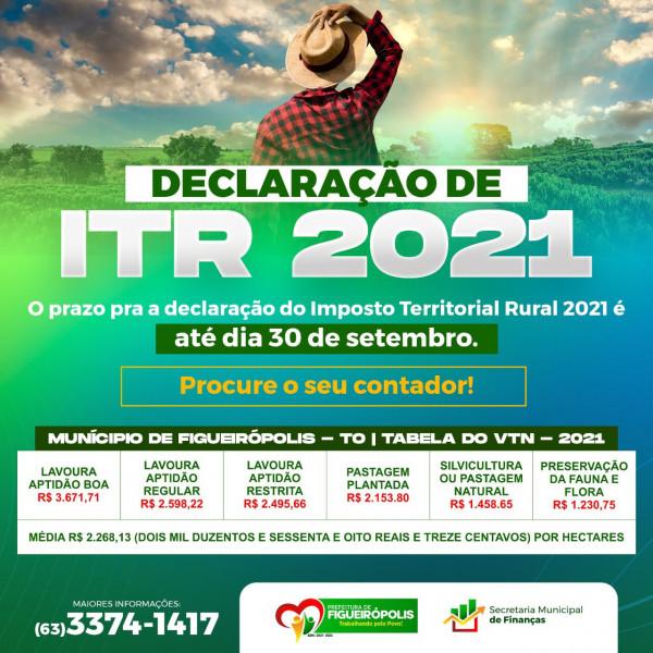 IMPOSTO TERRITORIAL RURAL- ITR -  PRAZO FINAL DIA 30/09/2021.