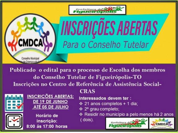 Abertas as Inscrições para concorrer a vagas no Conselho Tutelar no Município de Figueirópolis-TO.