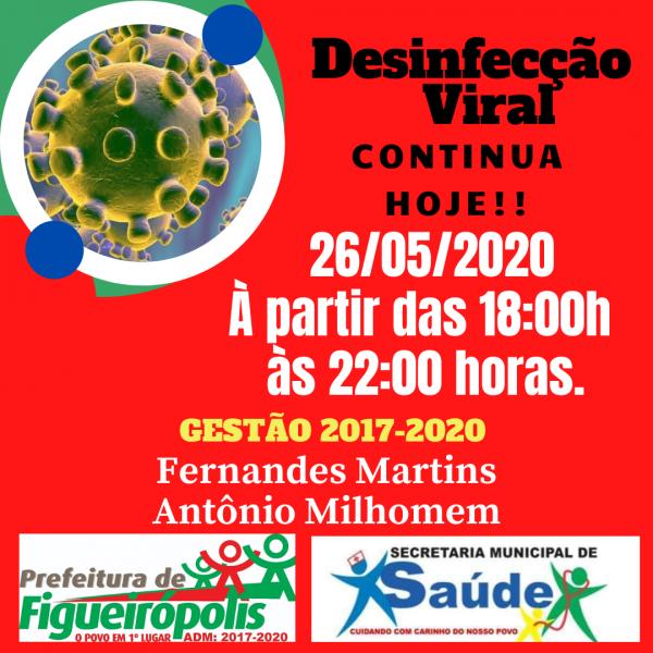 Secretaria Municipal de Figueirópolis-TO. Desinfecção Viral - 26/05/2020.