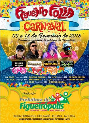 Divulgação do Carnaval em Figueirópolis-TO 2018.