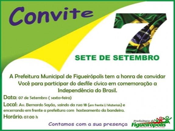Convite e Desfile Cívico alusivo ao dia 07 de Setembro.  Aconteceu no dia 07 de Setembro de 2018, no município de Figueirópolis-TO
