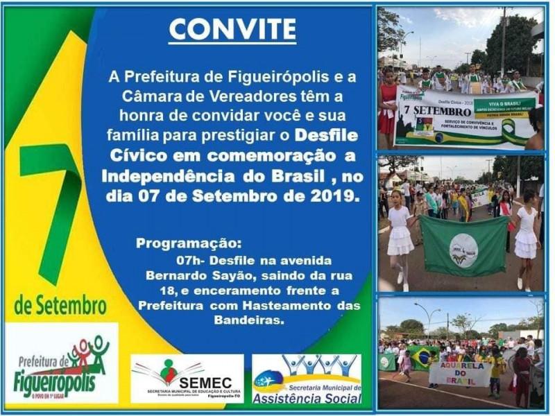 A Prefeitura de Figueirópolis, e a Câmara Municipal de Vereadores, em ação conjunta com as Secretárias Municipais de Educação e Assistência Social, com suas respectivas equipes, realizaram o desfile do dia 07 de Setembro de 2019.