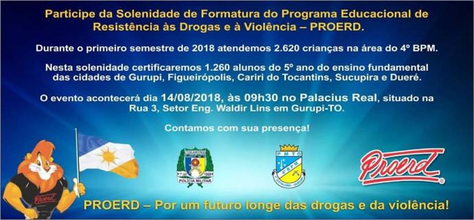 Convite de Solenidade de Formatura- PROERD 2018-Prefeitura Municipal de Figueirópolis-TO. Secretaria Municipal de Educação.