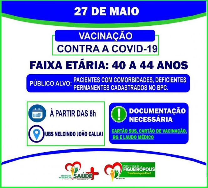COMUNICADO VACINÔMETRO COVID 19 - DIA 27/05/2021