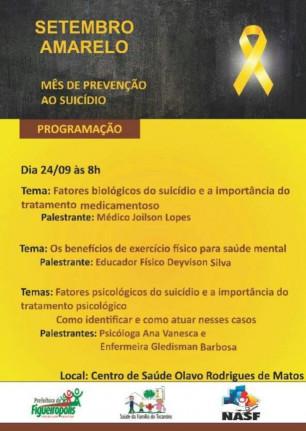 A Secretaria Municipal de Saúde, realizou no dia 24 de Setembro de 2018, uma ação em atenção ao mês de prevenção ao Suicídio.